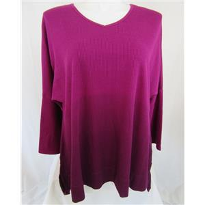 Catherines  Size 3X (26/28) Ombre Dip Dye Oversized Tunic w/ V Neckline in Berry