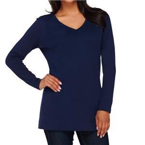 Liz Claiborne New York Essentials Size 2X Navy Long Sleeve V-Neck Tunic