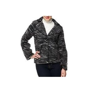Susan Graver 2X Grey Zebra Animal Print Fleece Jacket w/ Oversized Notch Collar