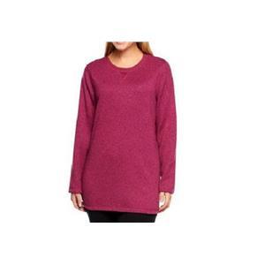Denim & Co Active Size 1X Fall Pink (Berry) LongSleeve Sweater Fleece Sweatshirt