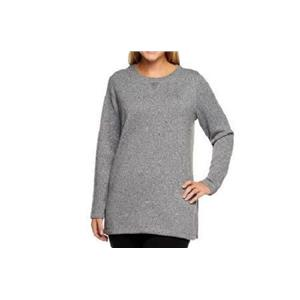Denim & Co. Active Size 1X Medium Grey Long Sleeve Sweater Fleece Sweatshirt
