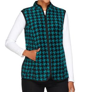 Susan Graver Size 3X Dream Teal Printed Polar Fleece Houndstooth Vest