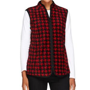 Susan Graver Size 1X Bright Red Printed Polar Fleece Houndstooth Vest