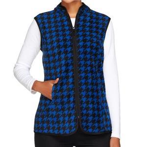 Susan Graver Size 2X Cobalt Blue Printed Polar Fleece Houndstooth Vest