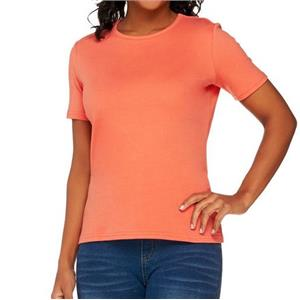 Liz Claiborne New York Essentials 1X Tangerine Short Sleeve Crew Neck Tee