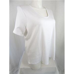 Liz Claiborne New York Essentials Size 2X White Rounded V-Neck Cotton T-Shirt
