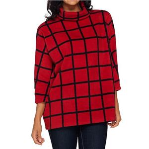 Susan Graver Weekend Size 1X Red Oversized Printed Polar Fleece Pullover Top