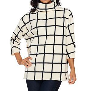 Susan Graver Weekend Size 2X Cream Oversized Printed Polar Fleece Pullover Top