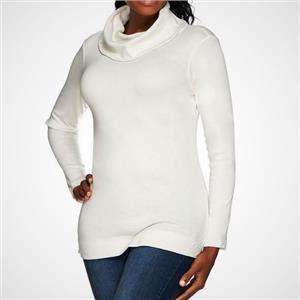 Liz Claiborne New York Essentials Size 1X Cream Cowl Neck Tunic