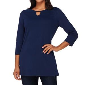 Liz Claiborne New York Size 3X Navy Tunic w/ Keyhole Neckline