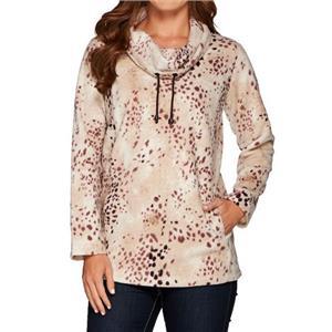 Susan Graver Weekend Size 1X Cream Linx Polar Fleece Long Sleeve Pullover Top
