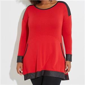 Lane Bryant Livi Size 18/20 Red Boat-Neck Active Tunic with Chintz Trim