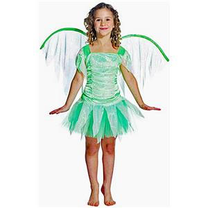 Lime Green Fantasy Fairy Child Costume with Wings 7-10