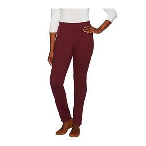 Denim & Co. Size 22W Regular Wine Ponte Knit Pants with Seaming Detail