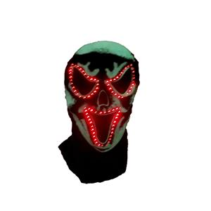 Black Fiber Optic Flashing Adult Scary Skull Ghost Monster Hood Accessory