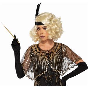 Black Roaring 20's Sequin Shawl Flapper Costume Accessory