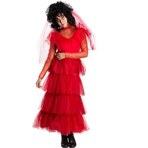 Beetlejuice : Red Lydia Wedding Dress Adult Small