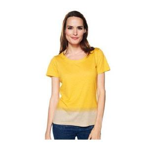 Liz Claiborne New York Size 1X Gold/Yellow Printed Dip Dye Scoop Neck T-Shirt