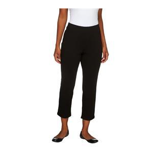Liz Claiborne New York Size 1X Petite Black Pull-On Ponte Knit Crop Pants