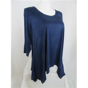 LOGO by Lori Goldstein Size 1X Navy Faux Suede top with Sharkbite Hem
