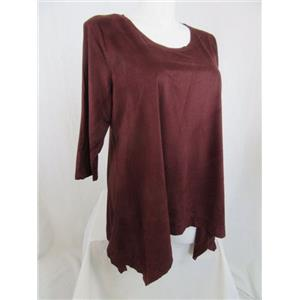 LOGO by Lori Goldstein Size 1X Deep Cabernet Faux Suede top with Sharkbite Hem