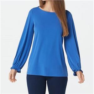 Susan Graver Size 1X Pond Blue Liquid Knit Bateau Neck Top with Pleated Cuff