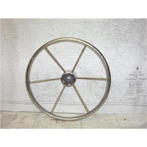 """Boaters' Resale Shop of TX 2101 0424.02 STAINLESS 16"""" STEERING WHEEL-3/4"""" SHAFT"""
