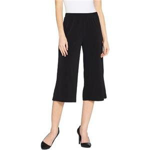 Susan Graver Size 3X Black Liquid Knit Pull-On Wide Leg Crop Pants