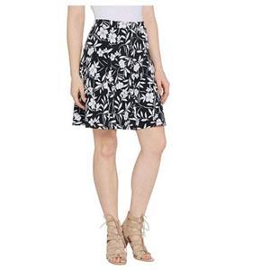 Susan Graver Size L Black/White Floral Printed Liquid Knit 8 Gore Pull-On Skort
