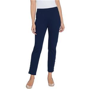 Susan Graver Size 3X Petite Navy Ponte Knit Slim-Leg Ankle Pants