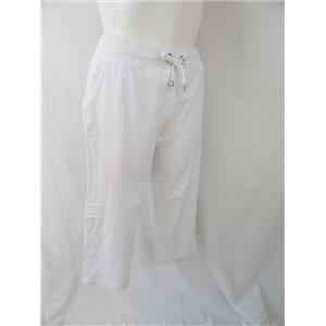 Denim & Co. Size 1X White Stretch French Terry Crop Pants with Pocket Detail