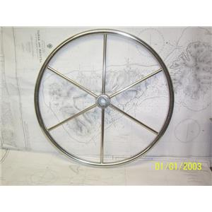 "Boaters' Resale Shop of TX 2104 0142.01 STAINLESS 24"" STEERING WHEEL - 1"" SHAFT"