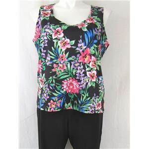 Slinky Brand Set Size 1X Black Floral Scoop Neck Tank Top with Black Crop Pants