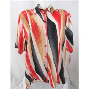 Beverly Rose USA Size 5X Red/Black/Tan Short Sleeve Button Front Tunic