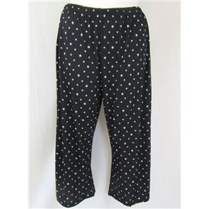 Slinky Brand Size 3X Black Stars Print Elastic Waist Wide Leg Crop Pants w/Slits