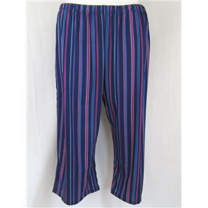 Slinky Brand Size 1X Navy Stripe Print Elastic Waist Wide Leg Crop Pants w/Slits