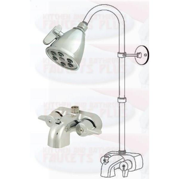 Chrome Clawfoot Tub Add A Shower Kit with K138A1 Shower Head