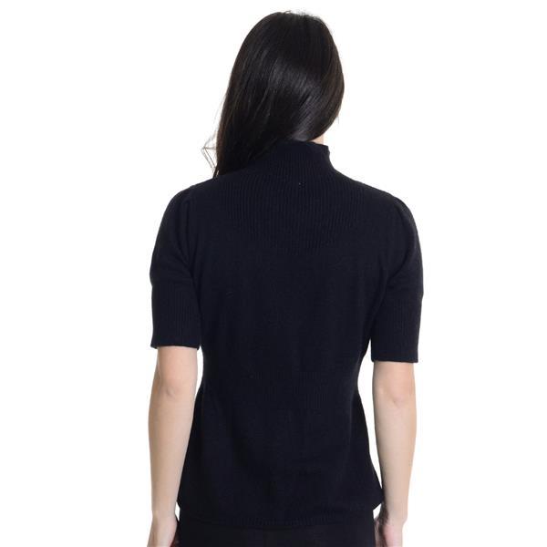 Sz S Moth Anthropologie Black Short Sleeve Mock Neck Sweater With