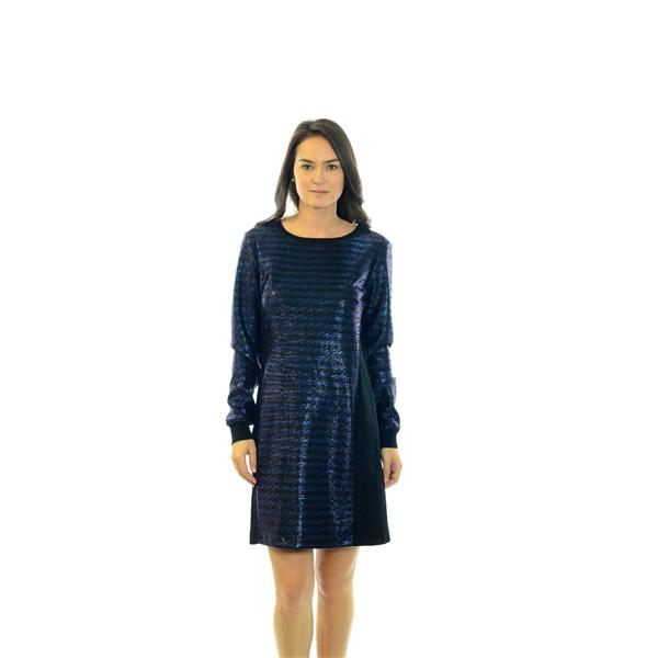 1659571e3b4 Brand New Size 8 Trina Turk Arias Metallic Shift Dress Black Blue Striped  Long Sleeve . Cash in the Closet