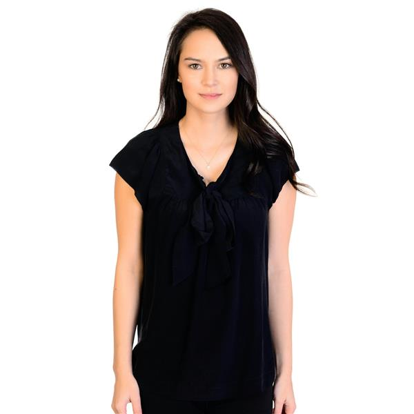 83d83768269a0a S Banana Republic Black 100% Silk Cap Sleeve Blouse w Silk Tie Front  S 606904-01 . Cash in the Closet