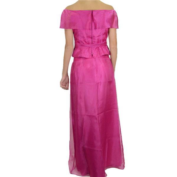 b3fb7435cd5cb4 ... NWT Ursula of Switzerland Hot Pink Chiffon Evening Set Off Shoulder  Blouse Skirt ...