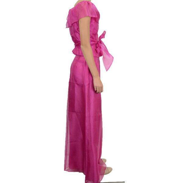 a4491b829c773d ... NWT Ursula of Switzerland Hot Pink Chiffon Evening Set Off Shoulder  Blouse Skirt