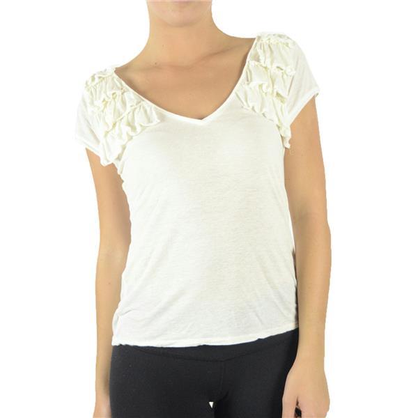 Nwt Linq Silk Ruffle Trim V Neck Jersey Slub Knit T Shirt Top Light Creme Y5278
