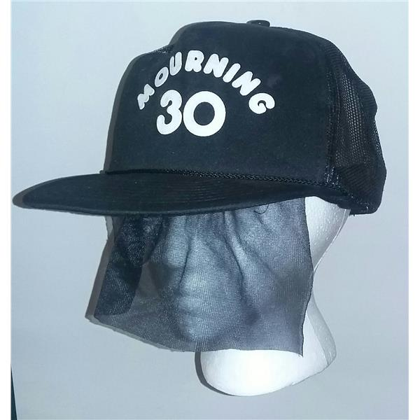 Black Mourning 30 Snapback Trucker Hat Attached Funeral Veil 30th Birthday Gift Halloween Store