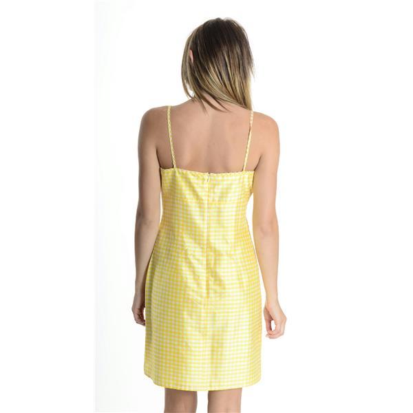 6 Nanette Lepore Yellow White Silk Gingham Dress W Daisy Flower Strap Neck Trim