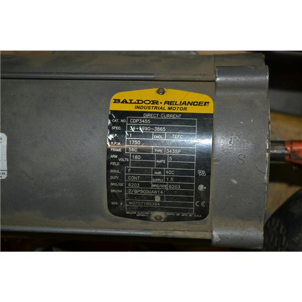 ... Baldor CDP3455 1 HP DC Motor, 1750 RPM, Frame 56C, ...