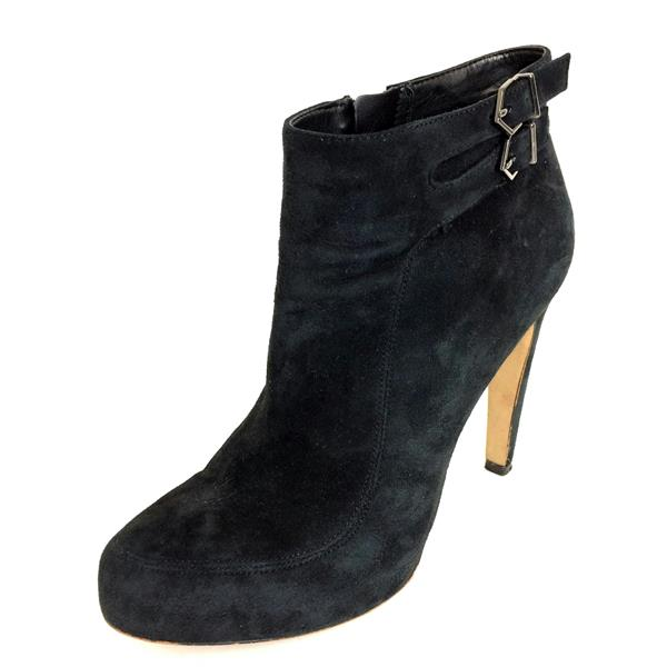 14b026086fcbb4 8.5 Sam Edelman Black Suede Leather Pointed Toe High Heel Bootie w Buckle  Detail
