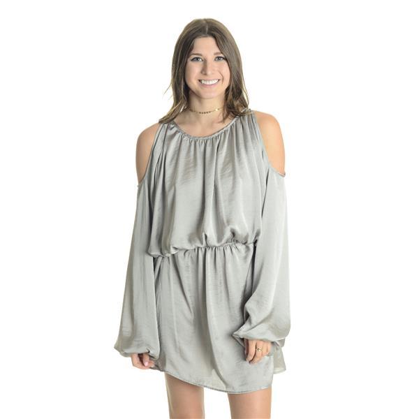 07d49c240d NEW Sz L Noa Elle Ally Long Sleeve Cold Shoulder Satin Shift Dress in  Silver . Cash in the Closet