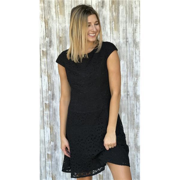 4 Anne Klein Little Black Lace Cap Sleeve Shift Dress Rear Zip
