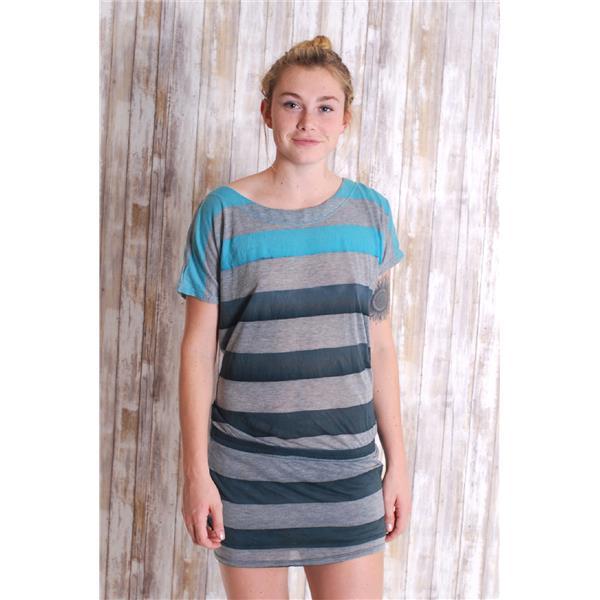 27fd6eb259 S Gypsy 05 Women's Raya Jersey Stripe Cap Sleeve Mini Dress in Heather Grey/Teal  . Cash in the Closet